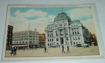 c1920's PROVIDENCE Rhode Island WOOLWORTH BUILDING & City Hall WHITE BORDER