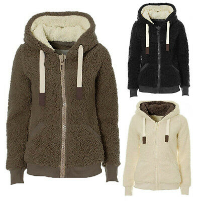 Women Winter Plush Coat Zipper Jacket Cardigan Fleece Warm Outwear Winter Tops