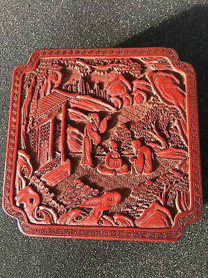 ANTIQUE CHINESE LACQUER CINNABAR BOX   19x19x7  QING DYNASTY ?  19th Century ?