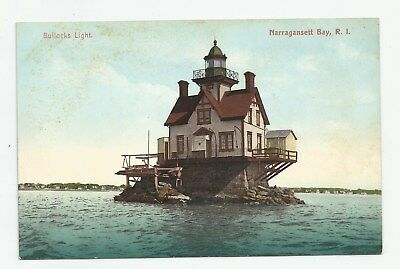 c1912 Bullocks Light House Lighthouse Narragansett Bay RI Close-up View