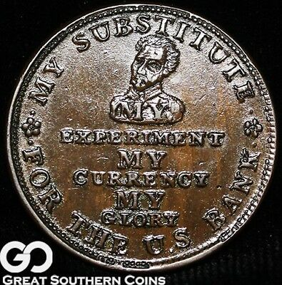 1834 Hard Times Token, My Experiment / My Substitute, Popular Piece