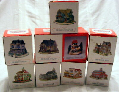 9 '94 Charter '96 Liberty Falls Hand Painted Porcelain Buildings Boxes Americana