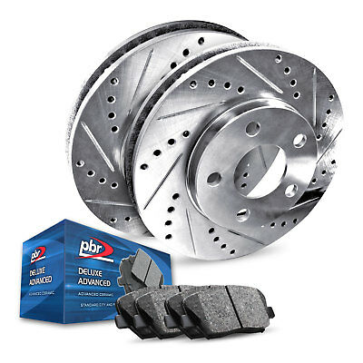 PLATINUM HART DRILLED SLOT BRAKE ROTORS AND CERAMIC PAD PHCF.6608202 FRONT KIT