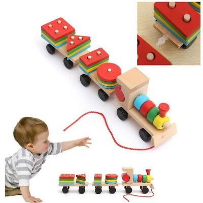 Wooden Train Building Blocks Kid Educational Toys Baby Wooden Stacking Gift