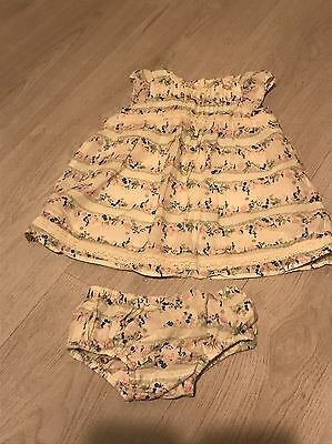 Next Baby Girl Ditsy Floral Crochet Detail Dress & Matching Knickers Outfit 1 M