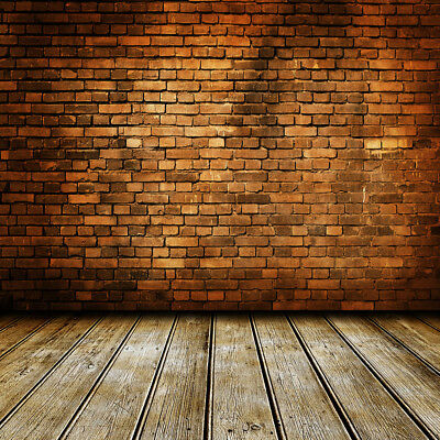 10x10FT Vinyl Background Photography Backdrop Prop Vintage Brick Wall Wood Floor
