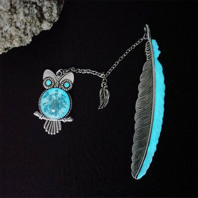 Creative Luminous Feather Retro Bookmark Metal Spike Owl Style Bookmark OE