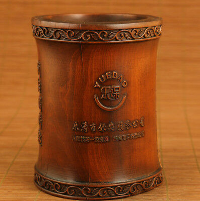 big old boxwood hand carved bamboo brush pot / Vase aging crack