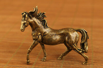 Chinese bronze Old Statue horse figure netsuke table noble gift home decoration