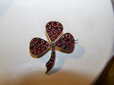 Antique Victorain Jewelery Bohemian Garnet Set Clover Shamrock Brooch Lace Pin