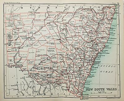 Antique Bartholomew Map - Victorian Small Folding Map Australia New South Wales