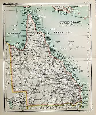 Antique Bartholomew Map - Victorian Small Folding Map - Australia, Queensland