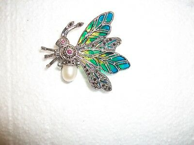 Large 925 SILVER PLIQUE A JOUR BUTTERFLY/BUG BROOCH RUBY EYES/PEARL