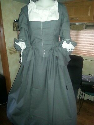 18th Century Historical Reproduction Polonaise Gown and Petticoat size 38 Bust