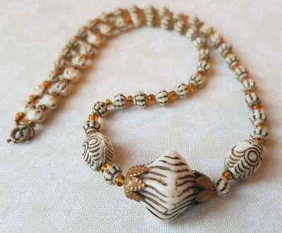 Vintage Art Deco Czech Neiger Glass Bead Necklace