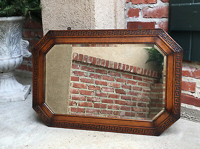 Antique English Carved Tiger Oak Octagon Frame Beveled Wall Mirror Greek Key