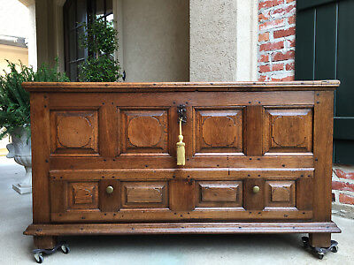 Antique French Country Carved Oak Mule Chest Bench Coffer Trunk Table Pegged