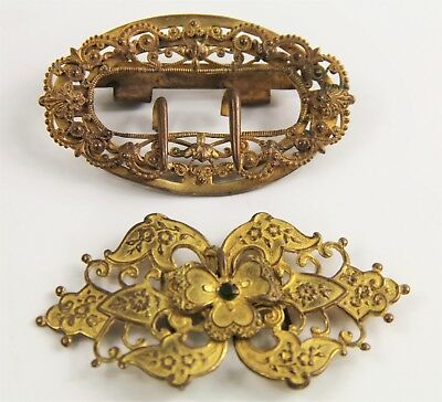 ESTATE VINTAGE Jewelry LOT OF TWO ANTIQUE ORNATE VICTORIAN BELT BUCKLES