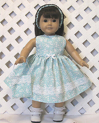 """Handmade Doll Clothes fits 18"""" American Girl Doll WHITE FLORAL BLUE DRESS"""