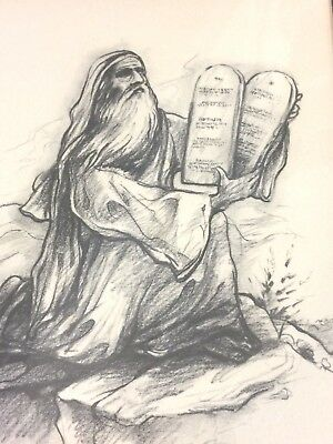 Vintage Jewish Moses & Hebrew 10 Commandments Picture Art Judaism Judaica Israel