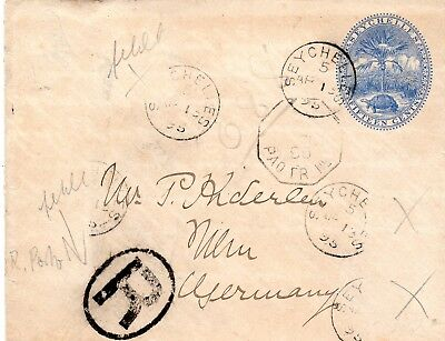 Seychelles 1895 - Registered Stationary Envelope Sent To Germany