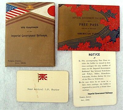 Rare 1908 Imperial Government Railways Free Pass Us Fleet Admiral Snyder