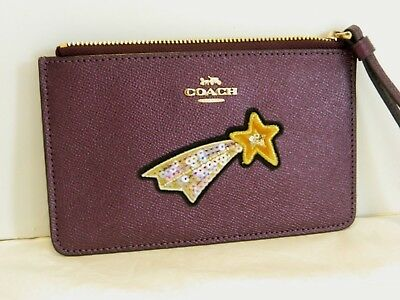 Nwt Coach Metallic Raspberry Leather Star Wristlet/bag 38706