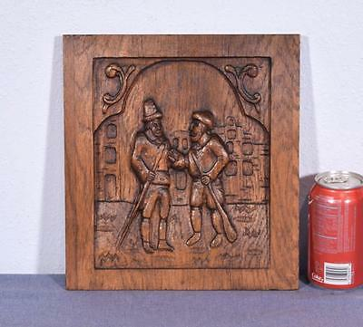 *French Antique Carved Panel Solid Oak Wood with Two Men Salvage