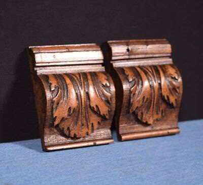 """*Pair of 4"""" French Antique Corbels/Pillars/Brackets in Walnut Wood Salvage"""