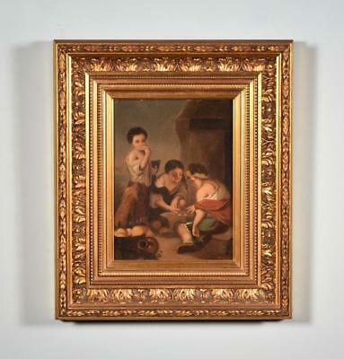 *Antique Oil on Tin Painting of People Playing a Game With Gilt Frame