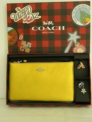 Nwt Coach Wizard Of Ox Boxed Metallic Yellow W/charms Lg Wristlet/bag 39730