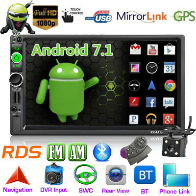 7'' 2DIN Android 7.1 Car Stereo MP5 Player GPS Nav RDS AM/FM Radio Bluetooth+Cam