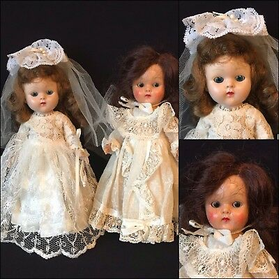 "2 8"" Vintage Hard Plastic Vogue Ginny Bride Dolls"
