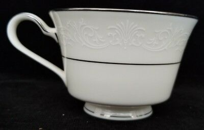 Noritake Ivory Marseille 7550 Footed Cup White Scrolls Platinum Trim MINT cond.