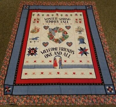Wamsutta 4 Seasons Welcome Friends Quilt Fabric Panel and pillow Lot 1801