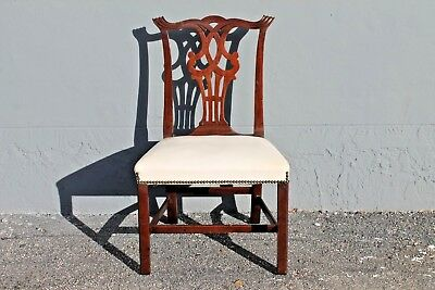 Mid Century Carved Mahogany Chippendale Style Occasional Chair