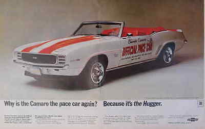 1969 Chevrolet Camaro Pace Car Print Ad:centerfold from Life Magazine.