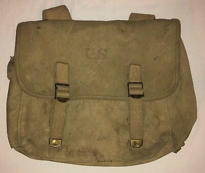 Original WWII US Army 1942 Dated Rubberized Musette Pack