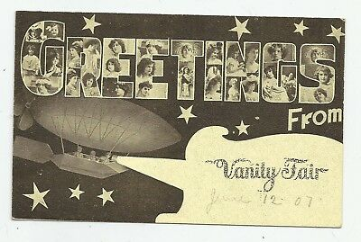 c1907 Greetings VANITY FAIR Riverside Providence RI LL POSTCARD Blimp Dirigible