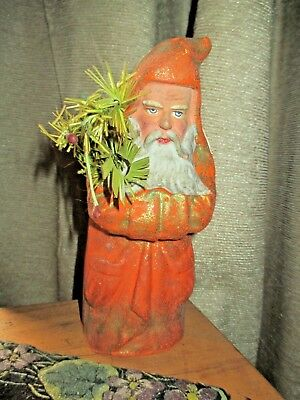 Antique Vintage Paper Mache Santa With Tree Candy Container Needs Restoration