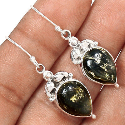 Rare Black Golden Seraphinite From Serbia 925 Silver Earrings Jewelry AE2562