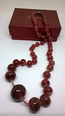 Vintage Antique Pink Marble Glass Bead Necklace Hand Knotted Repair Spares
