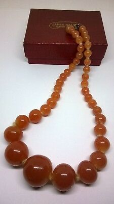 Vintage Jewellery Art Deco Orange Glass Graduated Beads Necklace Spares Repair