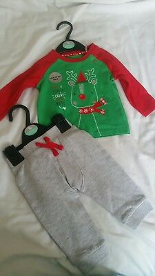 6579cf3c378668 Stunning Cute 2 Piece Christmas Baby Outfit Set Age 3 To 6 Months.by Tu
