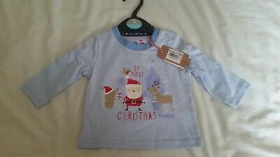Boy Girl Baby My First Christmas Long Sleeve Top Age Upto 3 Months By Tu. Bnwt