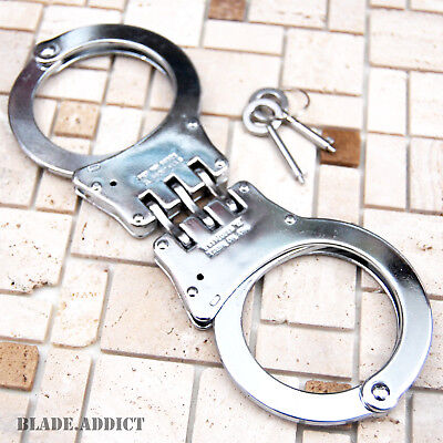 Professional Double Lock Chrome Steel Hinged Police Handcuffs w/ Keys Real -S