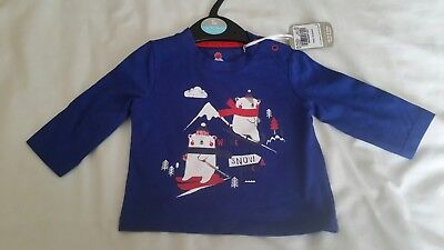 Tu Boy Girl Baby Blue Snowman Christmas Top Age Upto 3  Months.100% Cotton. Bnwt