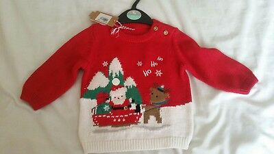 BABY BOY GIRL CHRISTMAS HO HO HO, KNITTED JUMPER AGE 3 to 6 MONTHS  BY TU. BNWT