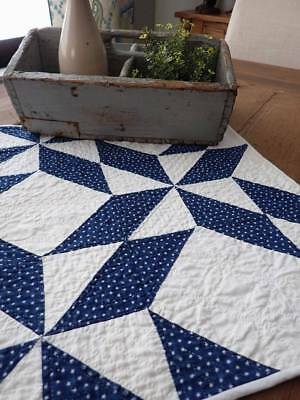 Incredible Quilting! Antique Indigo Blue & White Table Doll Quilt 23x19
