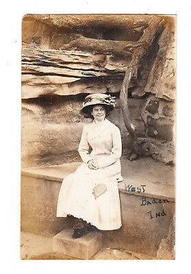 vintage Photo Postcard West Baden Springs, IN Indiana RPPC Woman Dress Hat Purse